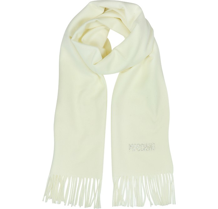 Moschino Crystals Signature Wool Fringed Scarf - Moschino