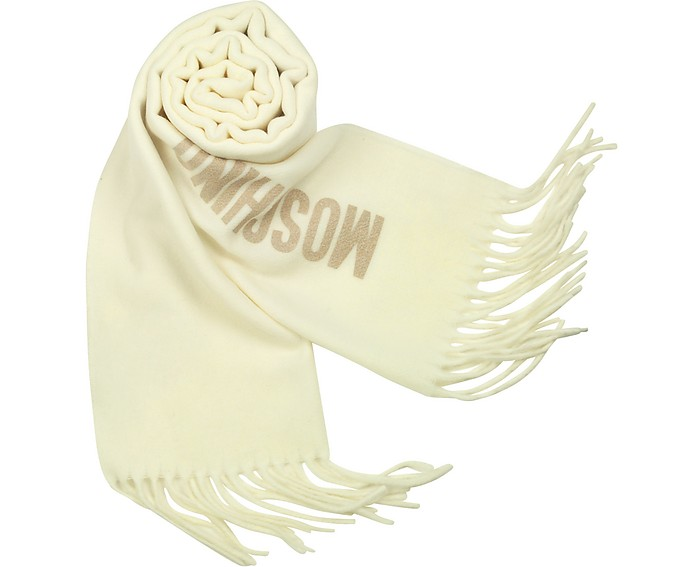 Signature Solid Wool Fringed Long Scarf - Moschino