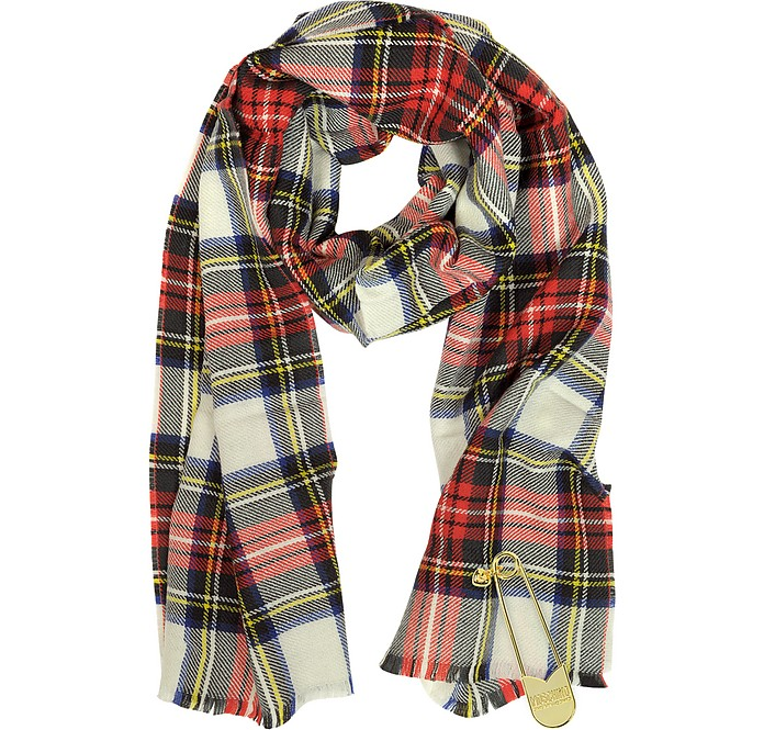 Tartan Wool Long Scarf with Oversized Safety Pin - Moschino