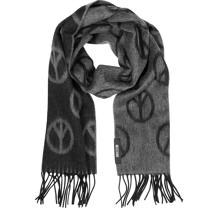 Peace Sign Print Wool Scarf - Moschino