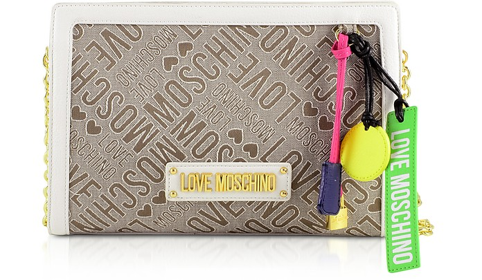 Signature Canvas and White Eco-Leather Shoulder Bag - Love Moschino