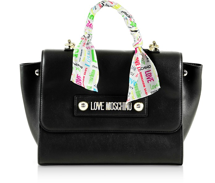 Love Black Eco-Leather Tote Bag - Love Moschino