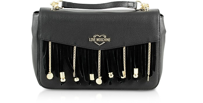 Chain and Charms Black Eco-Leather Top-Handle Bag - Love Moschino