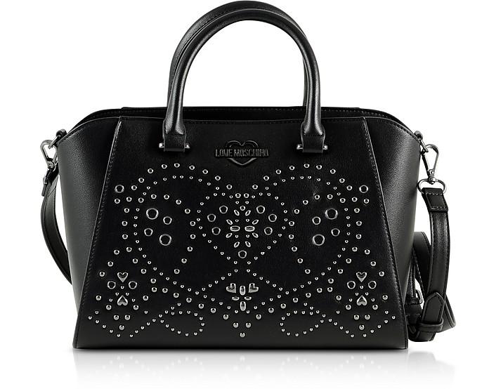Black Eco-Leather Studded Satchel Bag - Love Moschino