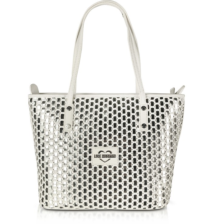 White & Silver Eco-Leather Bag - Love Moschino