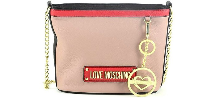 Powder Pink Chain Bucket Bag - Love Moschino