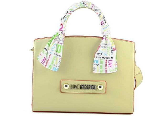Beige Eco-Leather Satchel Bag - Love Moschino