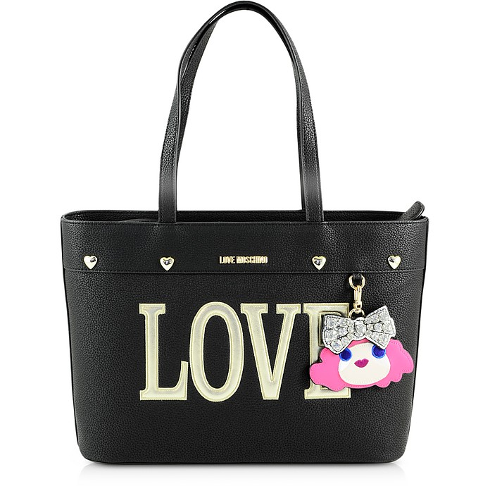 Black Eco-Leather Tote Bag - Love Moschino