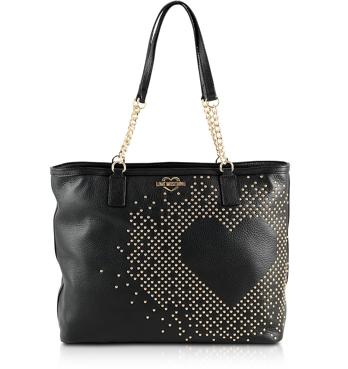 Black Leather Heart Tote Bag w/Studs - Love Moschino