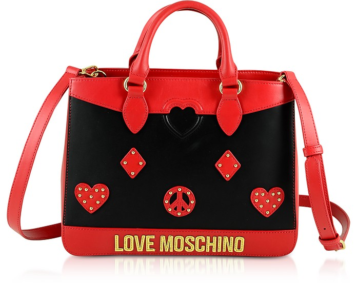 Black & Red Eco-Leather Studded Satchel Bag - Love Moschino