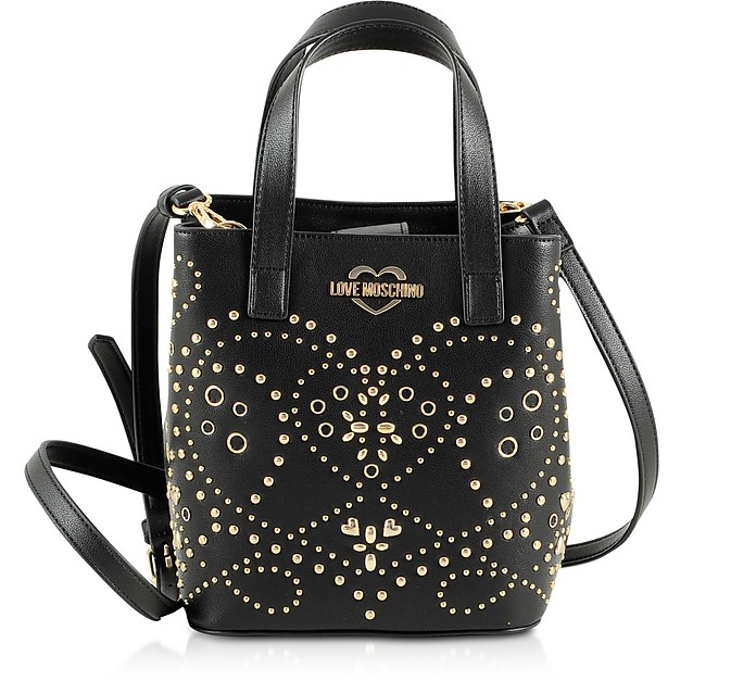 Black Studded Eco Leather Small Tote Bag w/Shoulder Strap - Love Moschino