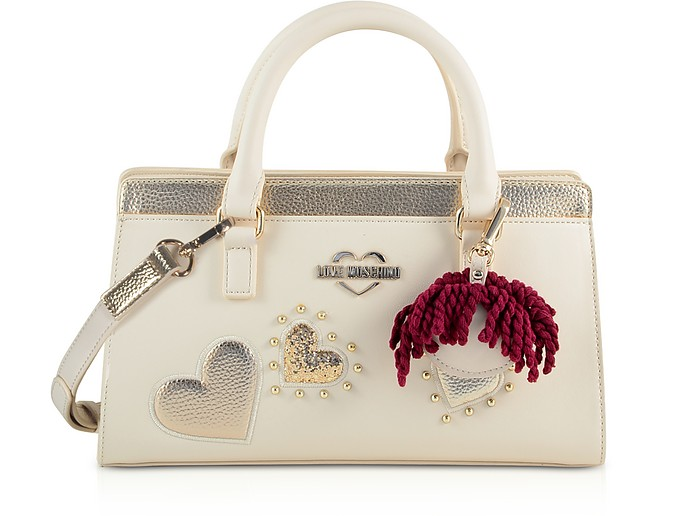 Ivory & Gold Eco Leather Small Tote Bag w/Charm - Love Moschino