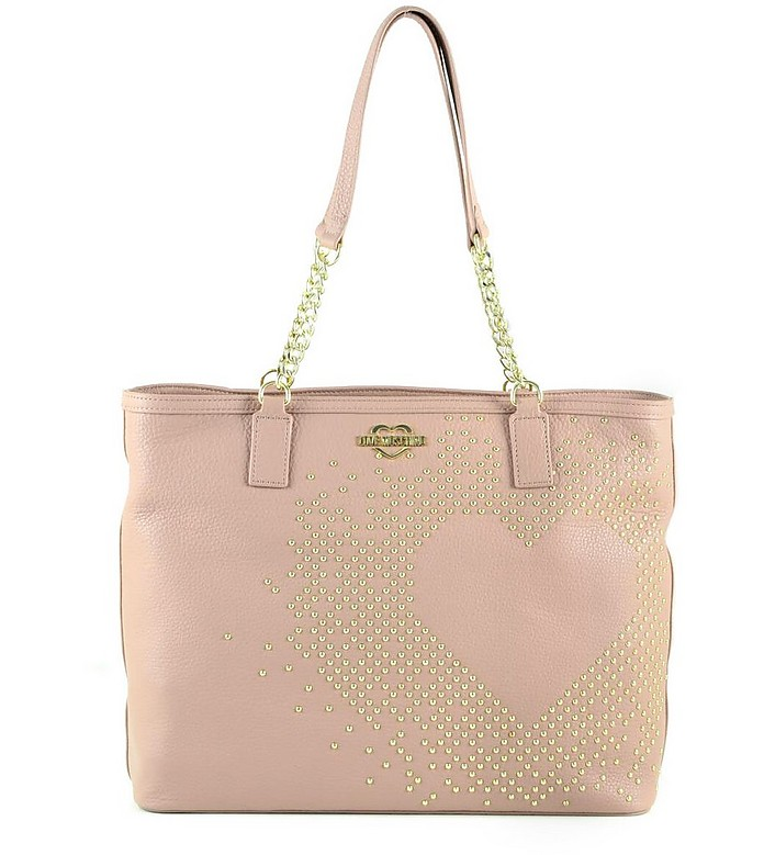 Pink Eco-Leather Heart Tote w/Studs - Love Moschino