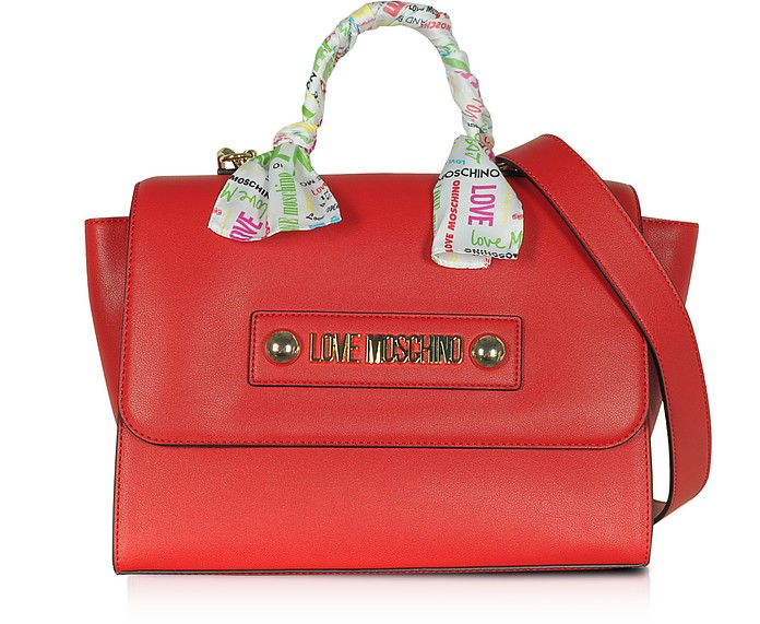 Red Eco-Leather Satchel w/Signature Scarf - Love Moschino / ラブ モスキーノ