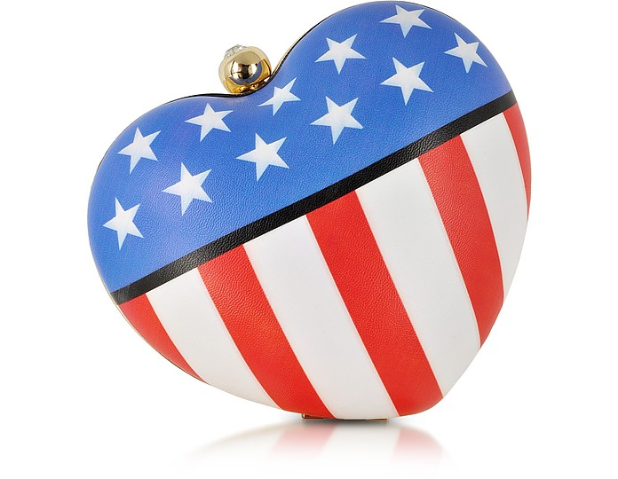Love Moschino US Flag Eco Leather Heart Clutch - Moschino
