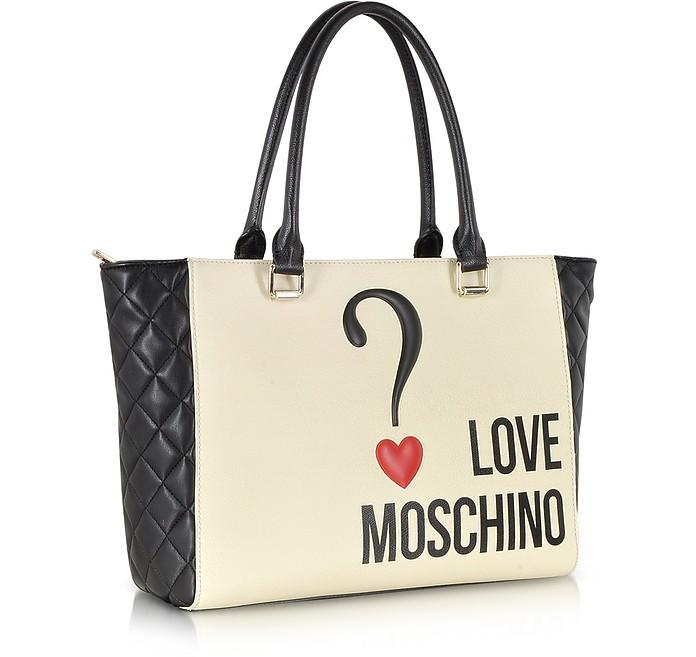 Moschino Black Cream Love Moschino Color Block Eco Leather