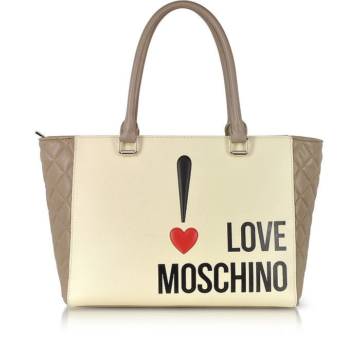 Moschino Taupe Love Moschino Color Block Eco Leather