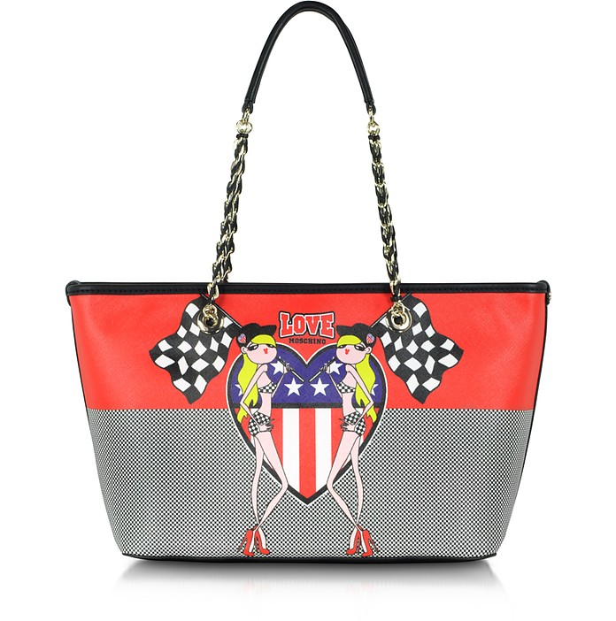 Love Moschino Fabric Twins Print Medium Tote - Moschino