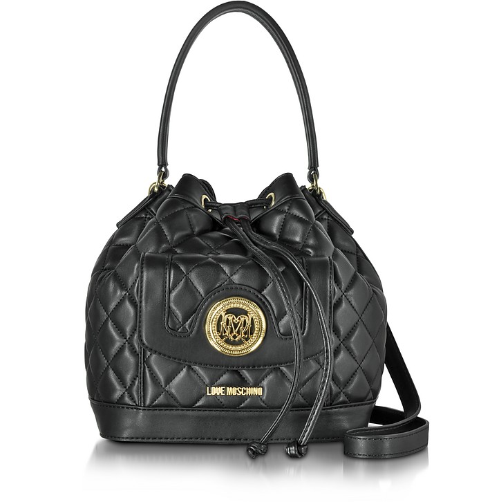 fce715cbf Love Moschino Black Quilted Eco Leather Bucket Bag at FORZIERI UK