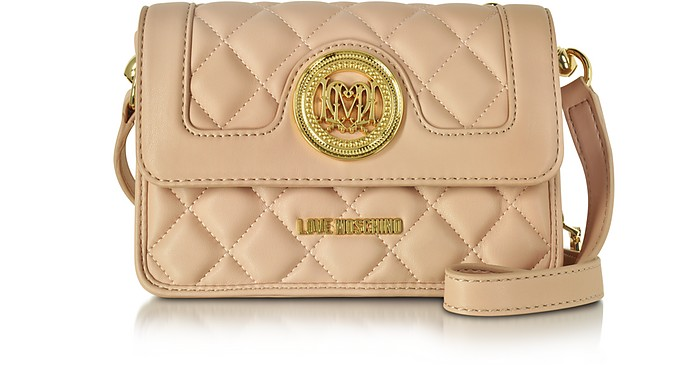 Nude Quilted Eco Leather Shoulder bag w/Zip Pocket - Love Moschino