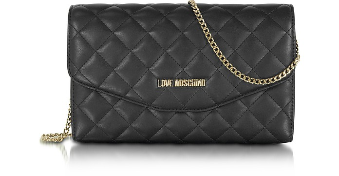 Love Moschino Black Evening Quilted Eco Leather Crossbody Bag At