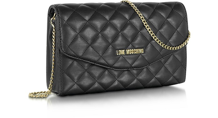 c68a99fa8f Love Moschino Gray Evening Quilted Eco Leather Crossbody Bag at FORZIERI
