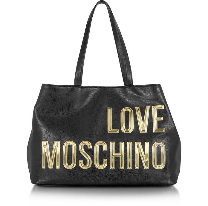 Con Moschino Pelle Nera Su Forzieri Logo In Shopper Oro Eco Love qBwRZgO