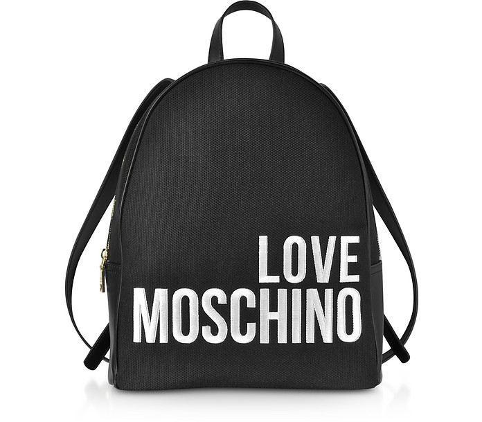 Black Signature Canva Backpack - Love Moschino