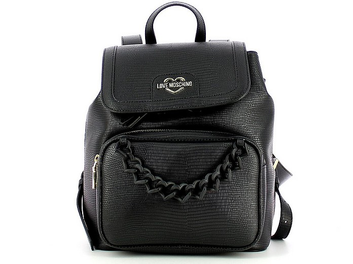 Black Embossed Eco-Leather Backpack - Love Moschino / ラブ モスキーノ