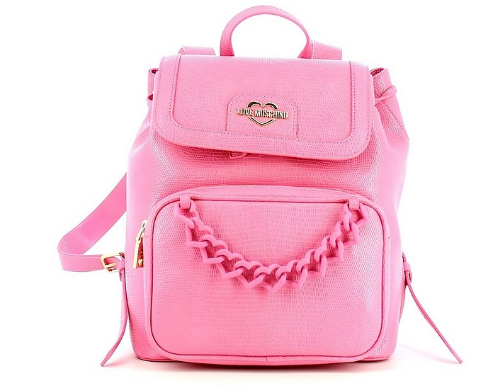 Pink Embossed Eco-Leather Backpack - Love Moschino / ラブ モスキーノ