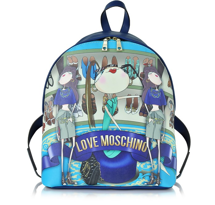 b7716e995e6 Love Moschino Blue Saffiano Leather Backpack w/Girls Print at ...