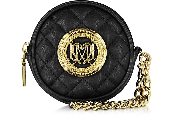 Black Quilted Eco Leather Round Clutch - Love Moschino