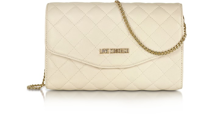 Evening Quilted Ivory Eco Leather Crossbody Bag - Love Moschino