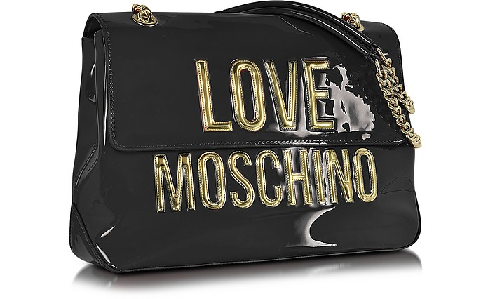 f93f02874d84 Black Patent Eco Leather Shoulder Bag w Signature Logo - Love Moschino.  £117.60 £168.00 Actual transaction amount