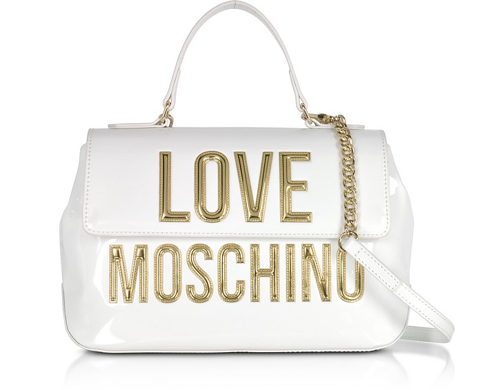 a3c416987c47 Patent Eco Leather Shoulder Bag w Signature Logo - Love Moschino