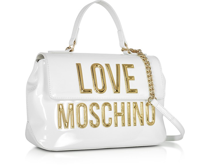 5d9c244600f1 Patent Eco Leather Shoulder Bag w Signature Logo - Love Moschino. Sold Out