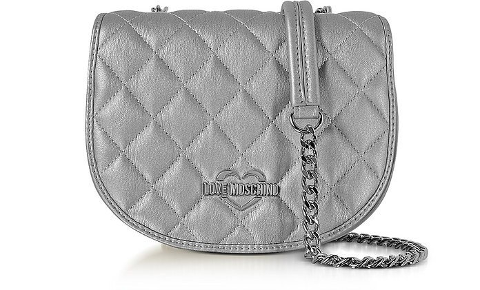 Silver Metallic Quilted Eco-Leather Crossbody Bag - Love Moschino