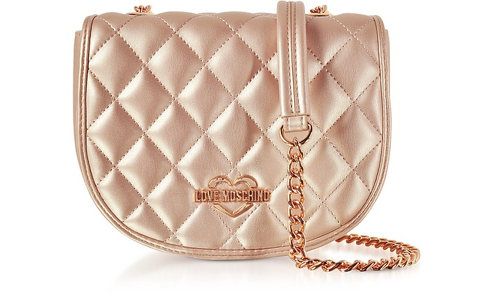 18067e93aa Love Moschino Copper Metallic Quilted Eco-Leather Crossbody Bag at ...