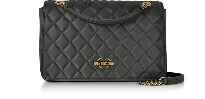 9dfda40aa74 Love Moschino Black Superquilted Eco-Leather Shoulder Bag at FORZIERI