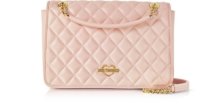 9375b2a66c Love Moschino Pink Superquilted Eco-Leather Shoulder Bag at FORZIERI UK