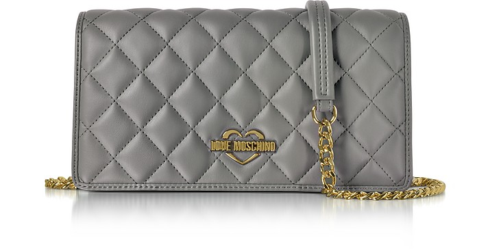 Grey Superquilted Eco-Leather Clutch w/Shoulder Strap - Love Moschino