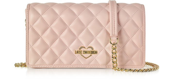 c675da2ace Love Moschino Pink Superquilted Eco-Leather Clutch w/Shoulder Strap ...