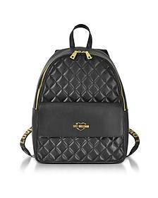 Black Superquilted Eco-Leather Backpack - Love Moschino