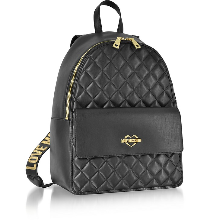 fd23167421212 Love Moschino Black Superquilted Eco-Leather Backpack at FORZIERI