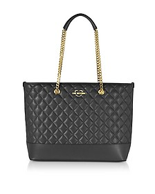 Black Superquilted Eco-Leather Tote Bag - Love Moschino