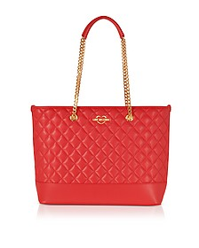 Red Superquilted Eco-Leather Tote Bag - Love Moschino