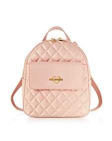 Pink Superquilted Eco-Leather Small Backpack - Love Moschino