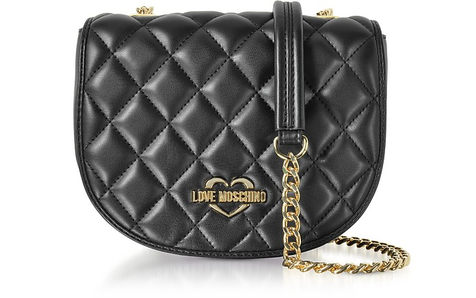 Black Superquilted Eco-Leather Small Crossbody Bag - Love Moschino