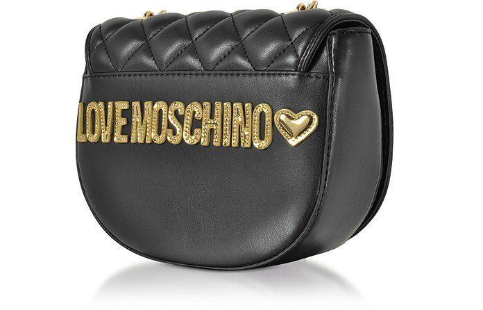 a7d346201fc Love Moschino Black Superquilted Eco-Leather Small Crossbody Bag at FORZIERI  UK