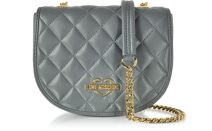 Grey Superquilted Eco-Leather Small Crossbody Bag - Love Moschino